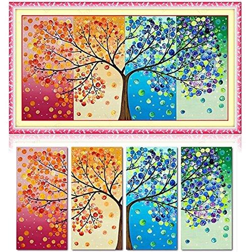 Tourwin Kit da ricamo per punto croce con schema numerato, motivo: albero e stagioni, 3D Cotton Material 120*57cm 1piece