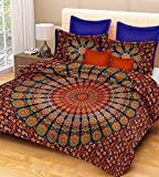 Jaipur Prints Double Bedsheet With Pillow Covers (Cotton 100 % Cotton Comfort Rajasthani Jaipuri Traditional Double Bedsheets With Pillow Cover