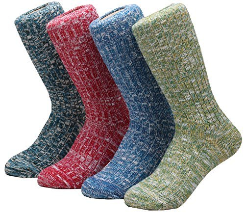 52c00cec2 4 Pairs Comfortable Womens Cotton Knitted Crew Warm Socks Colorful,5-9 Wz-