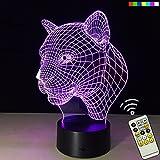 ATD® 3D Erstaunliche Optische Täuschung Kreative Acryl Leopard Kopf 7 Die Farbe 15 Tasten Fernbedienung LED Schreibtisch Lampen Nachtlicht