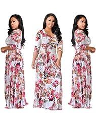 Gaoxu Las mujeres con cuello en V, siete punto falda larga, impresion gran péndulo falda, la moda europea y americana de viento, cintura, vestido de mujer, Big Swing vestido, vestido,Rosas rosadas,XL