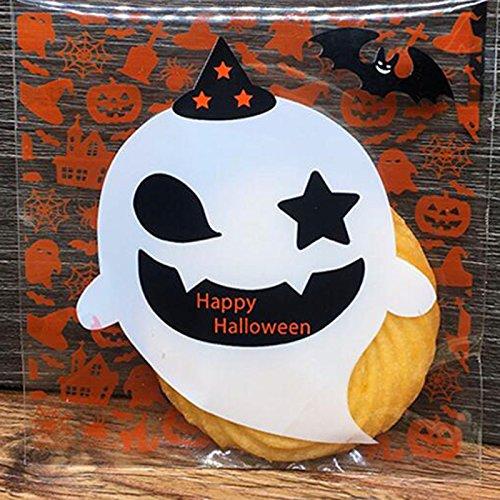 TOPmountain 100Pcs Halloween Party Kekse Kekse Selbstklebende Tasche Lebensmittelpaket (Behandeln Tasche Halloween Ideen)