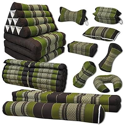 Kapok Thaikissen, Yogakissen, Massagekissen, Kopfkissen, Tantrakissen, Sitzkissen - braun/grün