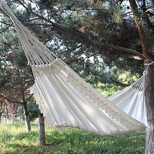 Prom-near Weiße Leinwand Baumwollspitze Outdoor-Freizeit Camping Hängematte Schaukel 200 * 80cm
