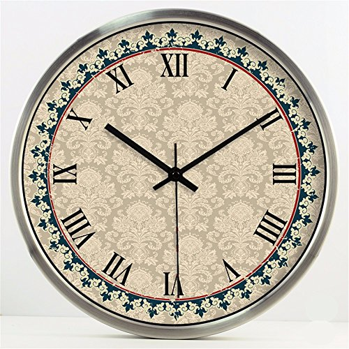 FortuneVin Moderne Wanduhr Home Office Decor hängende Uhren Troy Muster Silent Non-Ticking Wanduhr, Schwarz und Weiß, 16 InC. - Troy Home-office