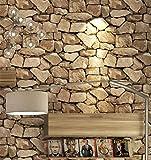 Wallpaper Retro 3D Ziegelstein-Tapeten-nachgemachter Stein-harte schalldämmende Feuchtigkeit antistatische Wohnzimmer-Hintergrundwandbekleidung (ohne Kleber) , 3