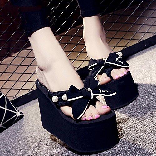 Pente avec sandales à talons hauts à bascule --- Chaussures à talons hauts féminins de 12 cm (Bleu / Noir / Gris / Rose) --- Herringbone fashion sweet Sandals Noir