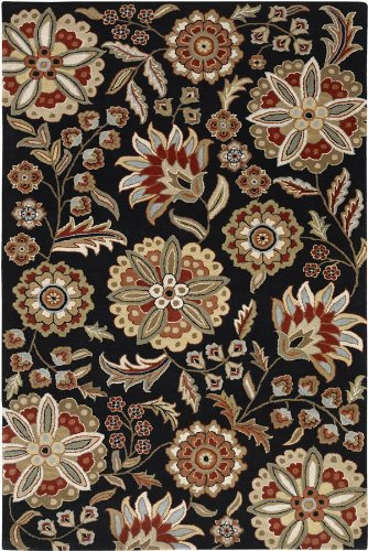 Surya Athena ATH-5017 Transitional Hand Tufted 100% Wool Black Olive 2' x 3' Floral Accent Rug by Surya (Surya Olive)