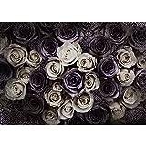 Vlies Fototapete PREMIUM PLUS Wand Foto Tapete Wand Bild Vliestapete - Blumen Blüten Rosen Ornamente Muster Vintage - no. 910, Größe:200x140cm Vlies