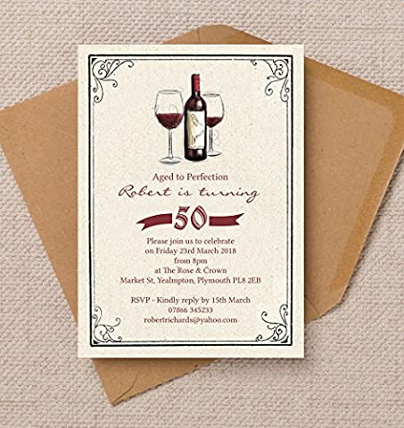 Personalised Vintage Wine Birthday Invitations with Envelopes (Pack of 10)