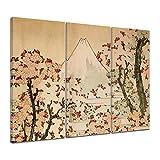 Kunstdruck - Alte Meister - Katsushika Hokusai - Blick auf den Fujijama mit blühenden Kirschbäumen - 120x80cm dreiteilig - Leinwandbilder - Bilder als Leinwanddruck - Bild auf Leinwand - Wandbild von Bilderdepot24