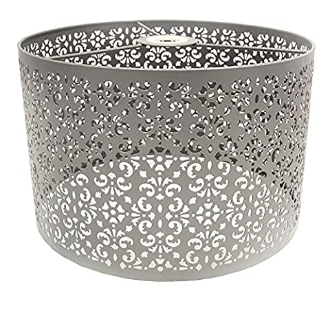 Marakech Metal Pendant Light Shade, 30 cm - Grey Large