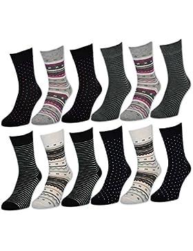 6 oder 12 Paar Damensocken mit Komfortbund ohne Gummidruck - Baumwolle - 34937 - sockenkauf24