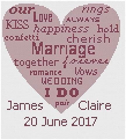 Wedding Heart Words Wedding Sampler Cross Stitch Kit