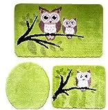 3- Teilige Badgarnitur mit Eulen Motiv, 60cm x 100cm (große Matte) kiwi grün für Hänge-WC