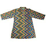 NeedyBee Cotton Clothes Multicolor Zig Zag Jaipuri Block Printed Baby Boys Kurta (4-6 Years)