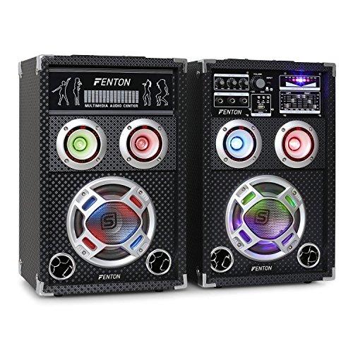"Fenton KA-06 PA Lautsprecher Set Karaokeanlage (400 Watt max, 16 cm (6,5"")-Tieftöner, USB-Port, SD-Slot, 3 x 6,3 mm-Klinke-Mic-In, LED-Beleuchtung) schwarz"