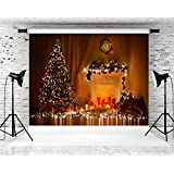 HMT 10X6.5ft(300cmX200cm)Glitter Christmas Backdrop Photo Booth Props White Fireplace Backgrounds For Photographers