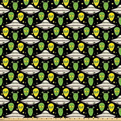 ABAKUHAUS Ausländer Stoff als Meterware, UFO-Porträt-Raum-Fertigkeiten, Microfaser Stoff für Dekoratives Basteln, 1M (160x100cm), Apfelgrün Grau weiß Gelb