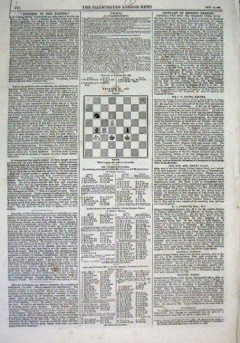 8 Schach-Probleme u. Lösungs-Antiken-Druck 1869