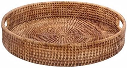 Indrani Collection Cane Round Basket & Serving tray-(38 x 10.16 Cms, Brown)
