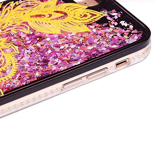 """iPhone 7 Handyhülle, iPhone 7 TPU Softcase, CLTPY Kreativ 3D Dynamisch Treibsand Glanz Fließen Flüssig Schwimmend Herz Stern Shale Etui, Schwarz Stoßfest Silikon Rückseite Hülle für 4.7"""" Apple iPhone  Gold Blume"""