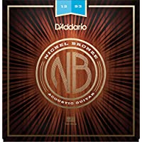 D'Addario NB1253 - Cuerdas para guitarra acústica (6 cuerdas, níquel/bronce, talla 12-53), color