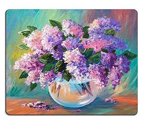 luxlady Mousepads Ölgemälde von Spring Lilac in einer Vase auf