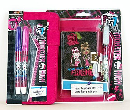 Stift-set Und Tagebuch (5 tlg. Monster High Set - Geldbörse zum Bemalen + 2 Stifte + kleines Tagebuch (11 x 8 cm), abschließbar + Stift)