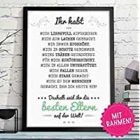 IHR HABT MICH AUFGEZOGEN - BESTE ELTERN hochwertiger Kunstdruck in A4 mit schwarzen Rahmen als persönliches und originelles Geschenk für Deine Eltern zum Geburtstag, Hochzeitstag oder als Danksagung