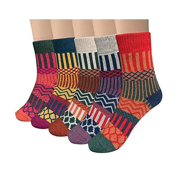5 Pairs Womens Thermal Wool Socks Warm Knit Ladies Socks for Winter 61ZuuvBqu8L