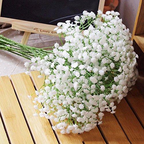 ANKKO Kunstblumen Weiß Gypsophila Blumen Zuhause Party Decor Hochzeits Blumen (5 Stück)