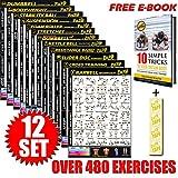 Eazy How To Workout-Poster mit Übungen, 51x 73cm, Ausdauertraining, Muskelaufbau und -stärkung, 12 Pack, 15% Thicker (200g/m² poster)