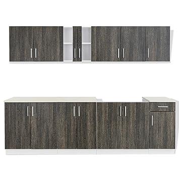 anself set armadi cucina componibile legno con unità base, rovere ... - Base Cucina Componibile