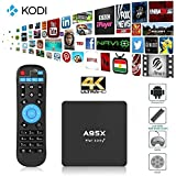 [2016 Nuevo]A95X TV Box Android 6.0 Quad Core 1GB RAM / 8GB ROM 1080P 4K H.265 Amlogic S905X XBMC Kodi 16.1 Google Streaming Media Players con WiFi,Enchufe UE