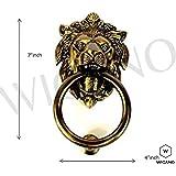 "WIGANO 7""inch Brass Made Lion Face Brass Door Knocker Home Decor"