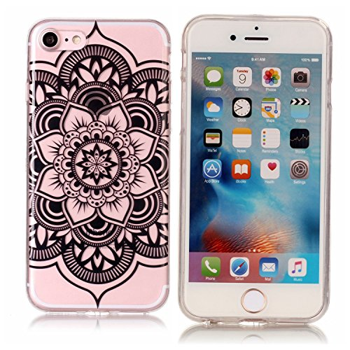 iPhone 7 Silikon hülle, iPhone 7 Bling Bling Case, BONROY® TPU Silikon Handy Hülle Schutzhülle für iPhone 7 (4,7 Zoll), Ultra Slim Scratch-Resistant Bumper Back cover TPU Protective Bumper für iPhone  Schwarze Mandala