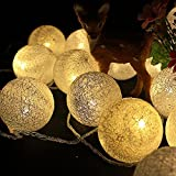 Warm White : Dekawei 2.2 M Battery Powered 20 LED Handmade Cotton Ball Globe String Lights For Indoor Xmas Party Wedding Holiday Festival Celebration Home Decoration Commercial Use (Warm White)
