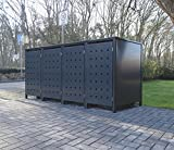 4 Mülltonnenboxen Modell No.2 für 120 Liter Mülltonnen / komplett Anthrazit RAL 7016 / witterungsbeständig durch Pulverbeschichtung / mit Klappdeckel und Fronttür
