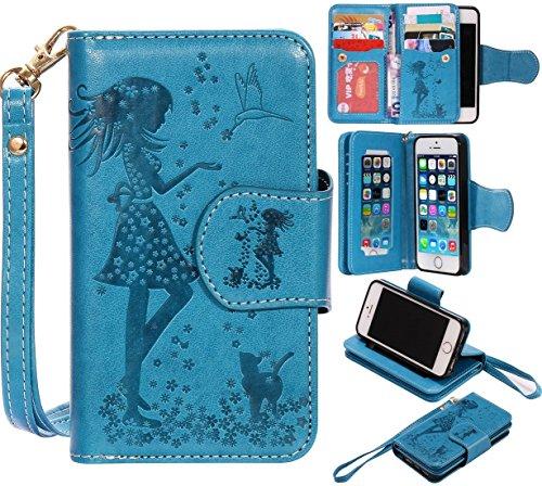 Nancen Compatible with Handyhülle iPhone 5 / 5S / SE (4,0 Zoll) Hülle, Prägung Mädchen Schmetterling Blume Vögel und Katze Muster Doka-Tasche [Blau]