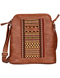 Kalamargam Collective Arunachal Weave & Vegan Leather Sling Bag (Multi-Coloured, KC-SB72)