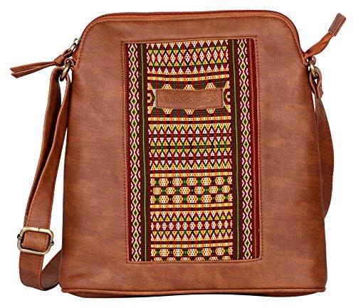 Kalamargam Collective Arunachal Weave & Vegan Leather Sling Bag (Multi-Coloured, KC-SB72)