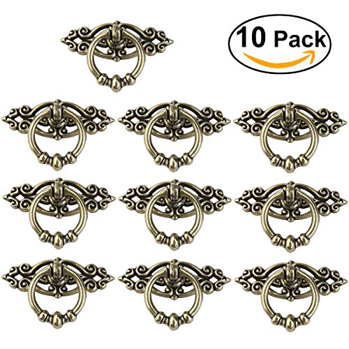 NUOLUX 10pcs Vintage Kitchen Cabinet Cupboard Dresser Door Drawer Ring Pull Handles Knobs (Antique Brass)