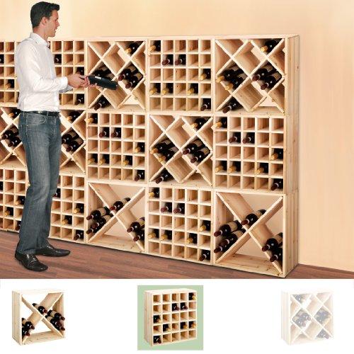 Weinregal / Flaschenregal System CUBE 52, Modul 3 Karo für 24 Fl., Holz Kiefer natur, stapelbar / erweiterbar - H 52 x B 52 x T 25 cm