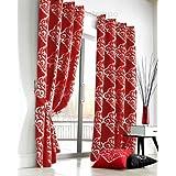 Just contemplo cortina JACQUARD DAMASK poliéster 167,64 cm x 137,16 cm par de cortinas - cortinas con ojales listas para colgar con anillas o cama de matrimonio cortina par, rojo