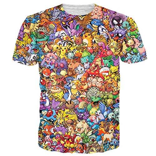 Lklik 3D Anime T-Shirt Männer Pikachu Kirby Mario Chocobo 3D Volldruck Arcade Collage Streetwear Sommer Tops Tees Shirt-in 2 L