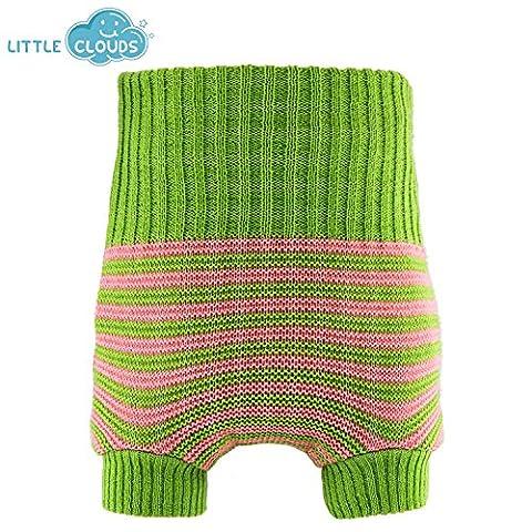Little Clouds doppeltgestrickte wollüber Pantalon–Vert/Rose