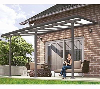 Hochwertige ALU Terrassenüberdachung / Veranda - 420 x 300 (BxT) / Überdachung Grau von Fonteyn - Gartenmöbel von Du und Dein Garten