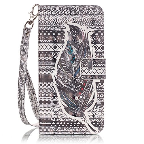 iPhone 7 étui portefeuille en cuir pour livre, newstars léger à rabat strass Bling Diamant Strass PU Case Design Coque Protège la peau étui en cuir pour Téléphone Portable iPhone 7 7 g + 1 protection  Diamond-Black stripe & feather