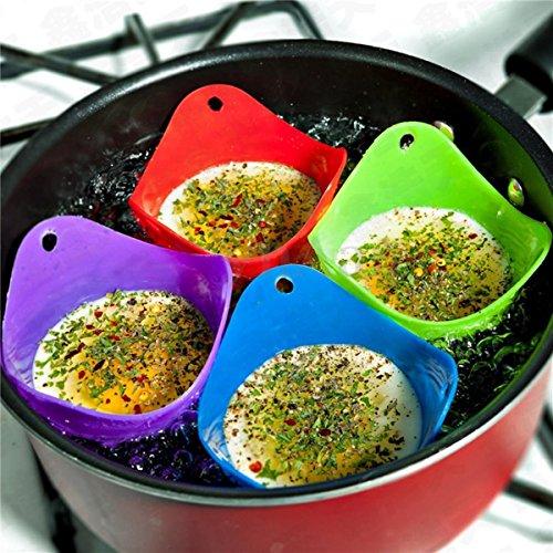 v-vape 4PCS Silikon Egg Poacher Wildern Wilderei Küche pochiert Tasse Pods Pfanne zufällige Farbe